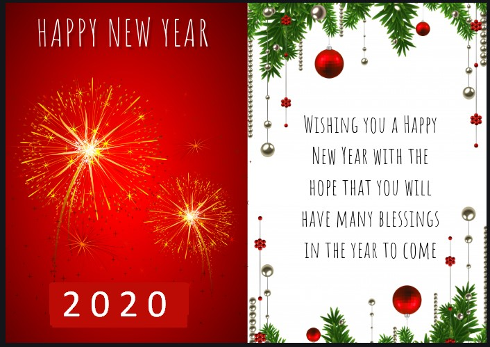 Happy New Year 2020 Greeting Card Designs Ideas Wishes