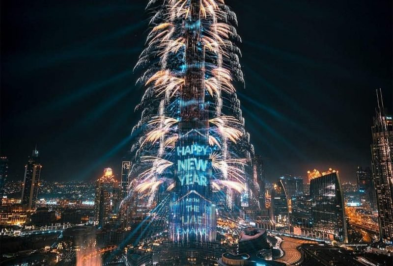 New year fire works in Burj Khalifa Tower Dubai