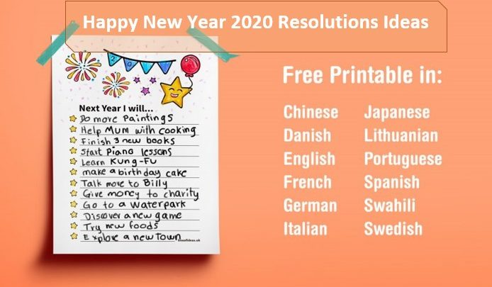 Happy New Year 2020 Resolutions Ideas